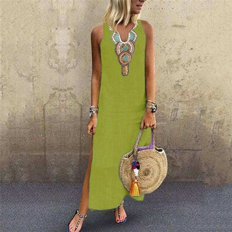 store most fashionable new style of 2019 Print V Neck Cotton Linen Summer Dress Women Vintage Sleeveless Maxi Long  Dress Casual Loose Plus Size Femme Dress